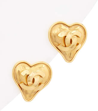 Chanel Gold-Tone Cc Heart Clip-On Earrings