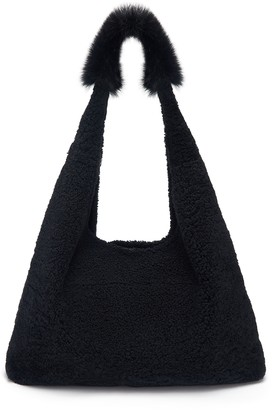 Gushlow & Cole Mixed Texture Shearling Slouch Bag