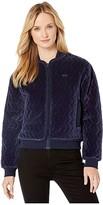 Lacoste Long Sleeve Velvet Pique Bomber Jacket (Navy Blue) Women's Clothing