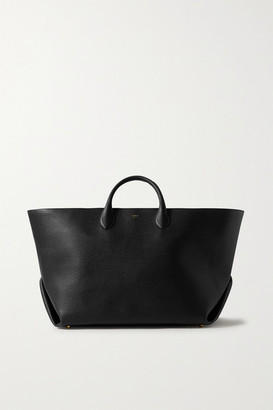 KHAITE Envelope Pleat Large Textured-leather Tote - Black