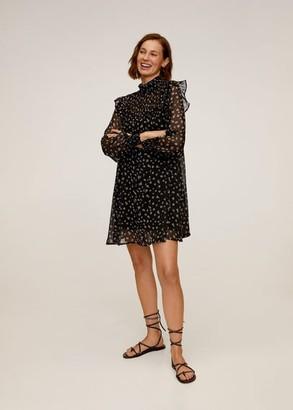 MANGO Floral ruffled dress black - 6 - Women