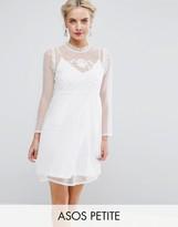 Asos Dobby Mesh Embroidered Smock Dress