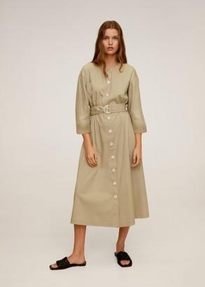 MANGO Buttons cotton dress light/pastel grey - 8 - Women