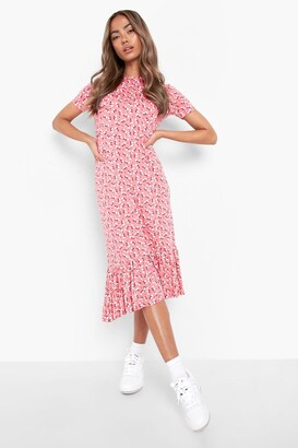 boohoo Ditsy Floral Tiered Midi Smock Dress