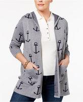 Belldini Plus Size Anchor-Print Cardigan