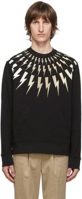 Neil Barrett Black All Over Bolts Print Sweatshirt