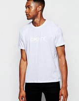Dkny Crew T-shirt Rubber Chest Print - White
