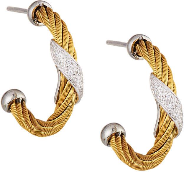 Alor Classique Yellow Steel & 18k Diamond Twist Hoop Earrings, Yellow