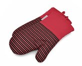 L.A. Sweet Home Silicone Striped Cooking Gloves(1 Pair) Flame & Heat Resistant Pot Holders for Kitchen Oven, BBQ Grill and Fire Pits Ideal for Cooking, Baking, Grilling Non-Slip Grip (A02 Deep-Red)