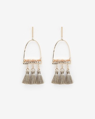Express Three Row Beaded Tassel Drop Earrings