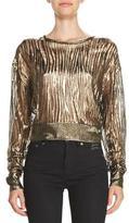 Saint Laurent Metallic Burnout Cropped Sweater, Gold