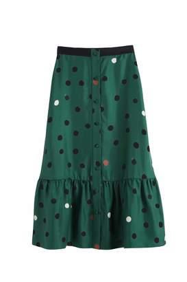 Parker Chinti & Green Painted Spot Silk-twill Skirt