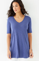J. Jill Pima Slub-Textured Elbow-Sleeve Tunic