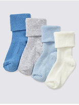 Marks and Spencer 4 Pairs of Cotton Rich StaySoftTM Turn Over Top Socks (0-24 Months)