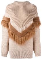Stella McCartney draped faux-fur trim jumper