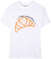 GANNI - Moulin Embroidered Printed Cotton-jersey T-shirt - White