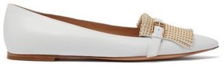 Gianvito Rossi Danielle Studded-fringe Leather Flats - White Gold