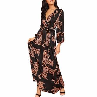 Taottao Top Blouse TAOtTAO Fashion Women V-Neck Long Sleeve Maxi Long Dress Print Lantern Sleeve Wrap Dress Orange