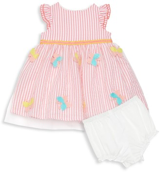 Laura Ashley Baby Girl's 2-Piece Butterfly Applique Stripe Dress & Bloomers Set