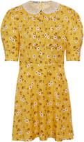 Miu Miu Floral Pleated Mini Dress