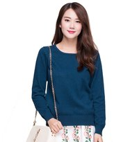 Panreddy Women's 100% Cashmere Slim Fit Crewneck Sweater L