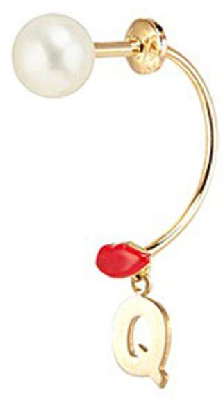 Delfina Delettrez 'ABC Micro Lips Piercing' freshwater pearl 18k yellow gold single earring - Q