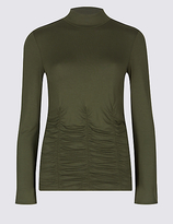 Limited Edition Rouched Waist Round Neck Long Sleeve T-Shirt