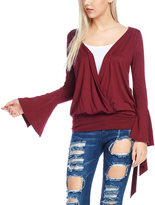 Bellino Burgundy Wrap-Front Split-Sleeve Top