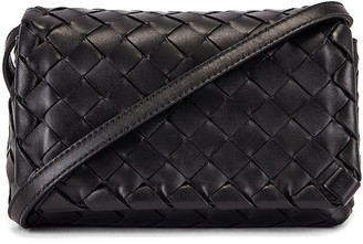Bottega Veneta Leather Woven Crossbody Bag in Black & Gold | FWRD
