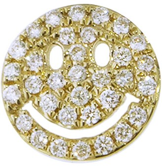 Sydney Evan Diamond Pave Happy Face Single Stud Earring - Yellow Gold