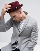 Asos Pork Pie Hat With Feather Band In Burgundy