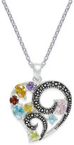 Macy's Marcasite & Multicolor Cubic Zirconia Open Heart Pendant Necklace in Silver-Plate