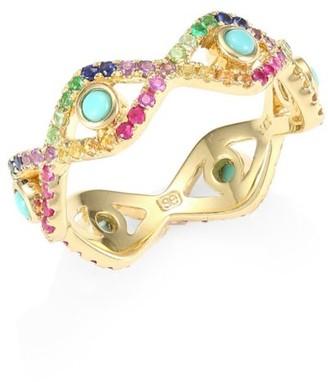Sydney Evan 14K Yellow Gold & Rainbow Gemstone Large Bezel Evil Eye Ring