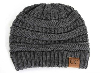 Cambridge Select Winter White Ivory Thick Slouchy Knit Oversized Beanie Cap Hat - black - One Size