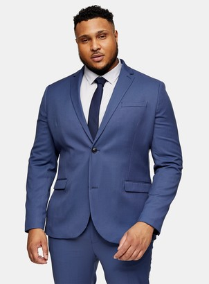 Topman BIG & TALL Blue Skinny Fit Single Breasted Suit Blazer With Notch Lapels*