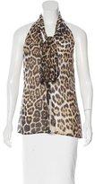 Blumarine Silk Leopard Print Top