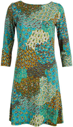 Modern Touch Women's Casual Dresses Turquoise - Turquoise Peacock Boatneck Dress - Women