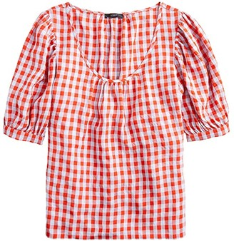 J.Crew Greta Top in Washed Gingham (Red/Blue) Women's Clothing