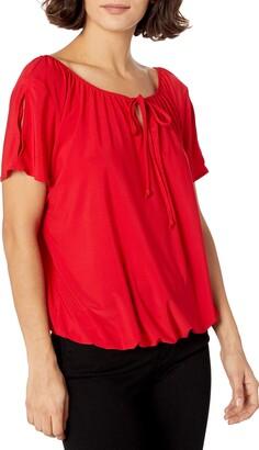 Star Vixen Women's Petite Short/Slit Sleeve Keyhole-Tie Peasant Top Bubble Hem