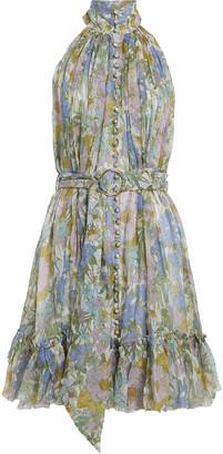Zimmermann Floral Silk Chiffon Mini Dress