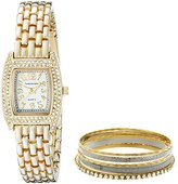 Vernier Women's VNR1000SET Crystal-Accented Gold-Tone Stainless Steel Watch Set