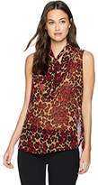 Anne Klein Women's Animal Print Tie Front Sleeveless Blouse