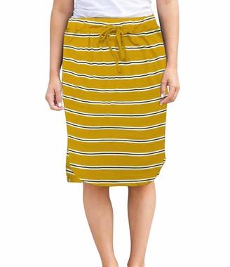 wenseny Womens Skirts Knee Length Pencil Skirts Elastic Midi Bodycon Solid Drawstring Daily Dresses Grey M