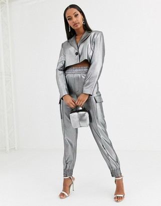 ASOS DESIGN metallic cropped suit blazer