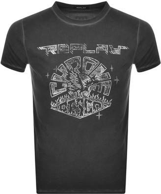Replay Logo Crew Neck T Shirt Black