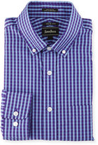 Neiman Marcus Trim-Fit Check Dress Shirt, Purple