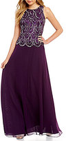 J Kara Petite Scalloped Beaded Gown