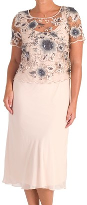Chesca Sequin And Embroidered Mesh Dress, Blush