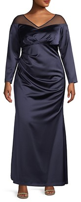 Adrianna Papell Plus Illusion Long Sleeve Satin Gown