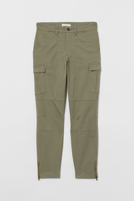 H&M Ankle-length Cargo Pants - Green